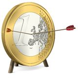 Success - Arrow hits the Euro Coin Center Stock Image