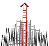 Success Arrow Ladder. With a group of lower grey ladders and a red successful one rising to the top as a  business symbol of wealth and financial concept of Royalty Free Stock Photo