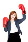 Success Asian businesswoman with boxing glove Royalty Free Stock Photos