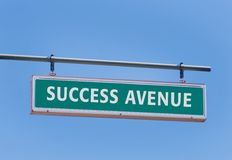 Success Avenue. Road with with blue sky background and copy space Royalty Free Stock Photo