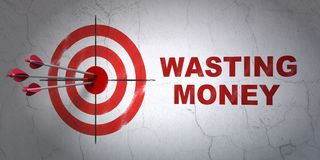Banking concept: target and Wasting Money on wall background Royalty Free Stock Images