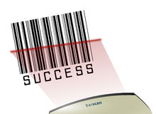 Success Bar code. Illustrated background with a scanner scanning a success bar-code Royalty Free Stock Images