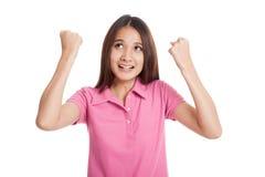 Success beautiful Asian girl  fist up Royalty Free Stock Photography