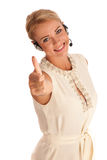 Success - Beautiful young woman showing thump up Royalty Free Stock Photos