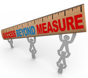 Success Beyond Measure - Team Lifting Ruler. A team lifts a ruler with the words Success Beyond Measure, symbolizing the result of teamwork and synergy vector illustration