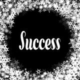 SUCCESS on black background with different white stars frame. Illustration Royalty Free Stock Images