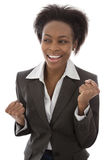 Success: Black businesswoman satisfied isolated on white backgro Stock Image