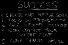 Success blackboard. Simple rules for success in life and career Royalty Free Stock Images