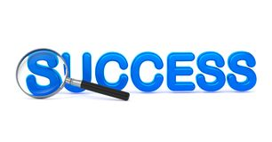 Success - Blue 3D Word Through a Magnifying Glass. Stock Images