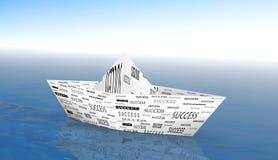 Success Boat. 3d image of paper boat success metaphore Royalty Free Stock Image