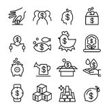 Success , bonus, investment, economy, benefit, profit, financial. Money icon set in thin line style Stock Image