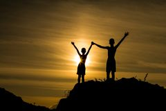Success boy on the mountain Stock Image