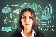 Success and brainstorm concept. Portrait of attractive young european businesswoman with business sketch on chalkboard background. Success and brainstorm concept royalty free illustration