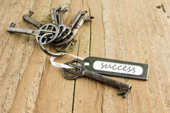Success. Bunch of keys and label with lettering success Stock Photography