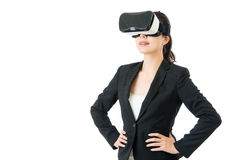 Success business asian woman arms waist with VR headset. Success business asian woman arms waist with virtual reality device. VR headset glasses. white isolated Royalty Free Stock Photos