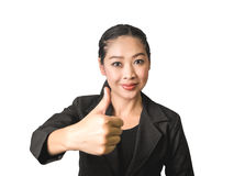 Success business Asian woman in black suit. Success business Asian woman with thumb up in isolated white background Stock Image