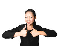 Success business Asian woman in black suit. Success business Asian woman with thumb up in isolated white background Stock Photo