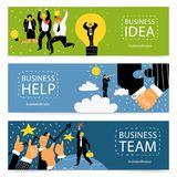 Success Business Banner Set. Three horizontal success business banner set with business idea help and team headlines vector illustration Royalty Free Stock Photo
