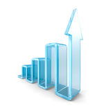 Success Business Bar Graph With Rising Up Arrow Royalty Free Stock Images