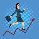 Success in Business. Businesswoman Climbing Up the Career Stock Images