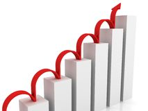 Success business chart with red jumping arrow. 3d Royalty Free Stock Images