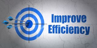 Business concept: target and Improve Efficiency on wall background. Success business concept: arrows hitting the center of target, Blue Improve Efficiency on Stock Photography