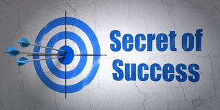 Business concept: target and Secret of Success on wall background. Success business concept: arrows hitting the center of target, Blue Secret of Success on wall Royalty Free Stock Image