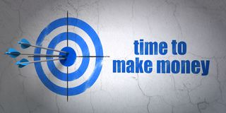 Business concept: target and Time to Make money on wall background. Success business concept: arrows hitting the center of target, Blue Time to Make money on Stock Photos
