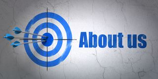 Business concept: target and About us on wall background. Success business concept: arrows hitting the center of target, Blue About us on wall background, 3D Royalty Free Stock Images