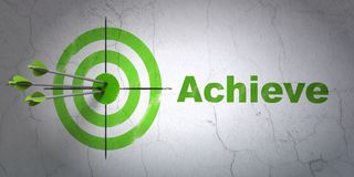 Business concept: target and Achieve on wall background. Success business concept: arrows hitting the center of target, Green Achieve on wall background, 3D Royalty Free Stock Photo