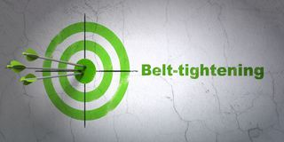 Business concept: target and Belt-tightening on wall background. Success business concept: arrows hitting the center of target, Green Belt-tightening on wall Royalty Free Stock Image