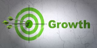 Business concept: target and Growth on wall background. Success business concept: arrows hitting the center of target, Green Growth on wall background, 3D Stock Photography