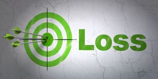 Business concept: target and Loss on wall background Stock Photos
