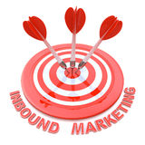 Success business concept: arrows hitting the center of target, R. Ed Inbound Marketing, 3d render Royalty Free Stock Image