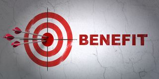 Business concept: target and Benefit on wall background Stock Photography