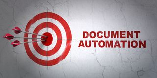 Business concept: target and Document Automation on wall background. Success business concept: arrows hitting the center of target, Red Document Automation on Royalty Free Stock Image