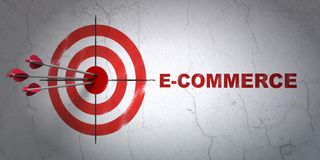 Business concept: target and E-commerce on wall background. Success business concept: arrows hitting the center of target, Red E-commerce on wall background, 3D Stock Photography