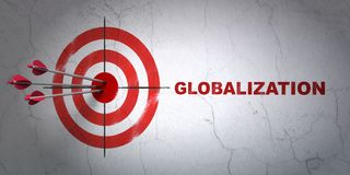 Business concept: target and Globalization on wall background. Success business concept: arrows hitting the center of target, Red Globalization on wall Royalty Free Stock Image