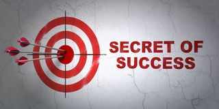 Business concept: target and Secret of Success on wall background. Success business concept: arrows hitting the center of target, Red Secret of Success on wall Royalty Free Stock Images