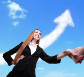 Success Business concept - woman and man handshake Stock Photos