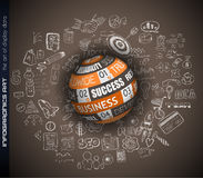Success in Business conceptual background with a 3D Sphere. And a tex message over an infographics hand drawn doodle sketches background Stock Image