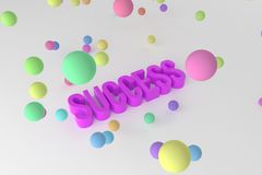 Success, business conceptual colorful 3D rendered words. Design, illustration, message & text. Success, business conceptual colorful 3D rendered words royalty free illustration