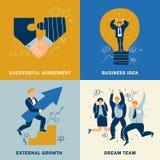Success Business Design Concept Set. Four squares success business design concept set with successful agreement business idea external growth and dream team Stock Photos