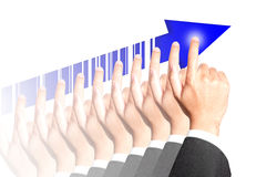 Success of business destination. Success direction of business hand destination concept Stock Photo