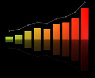 Success business graph. On black background Stock Images