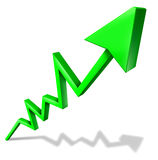 Success in business graph. Success in business green arrow graph pointing upward and rising as a symbol of financial success and economic indicator of Stock Images