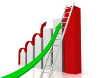 Success Business Graph With Arrows and Ladder. 3d Royalty Free Stock Photo