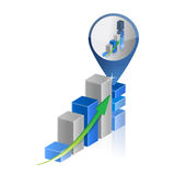 Success business graph chart location pointer. Illustration design Royalty Free Stock Photo