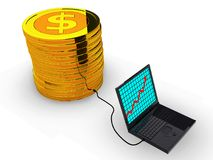 Success business graph on laptop. With coins.3d illustration Stock Image