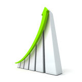 Success business graph with rising up arrow. 3d render illustration Stock Images